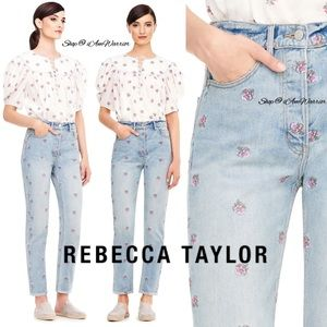 Rebecca Taylor NWT embroidered high waisted jeans